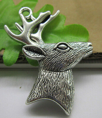 2/10/30pcs 60x44mm Antique Silver Lovely Deer Head Charms Pendants Jewelry