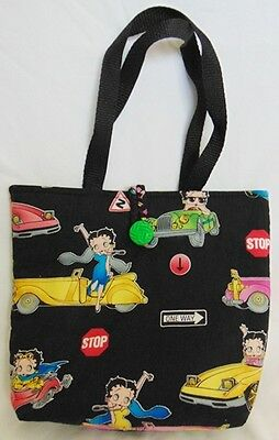 Collectible Betty Boop Handmade Quilted Boutique Handbag Purse Black Cars EUC FS