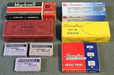Vintage Markwell and Swingline Staples Lot of 8 Boxes