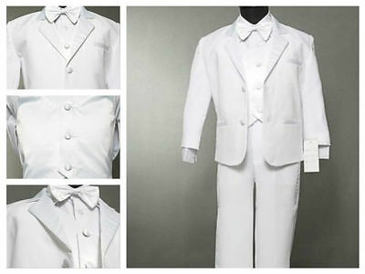 Boys White Suite/ Tuxedo for Wedding/ Christening/ Baptism 5 Piece Set Size S-7