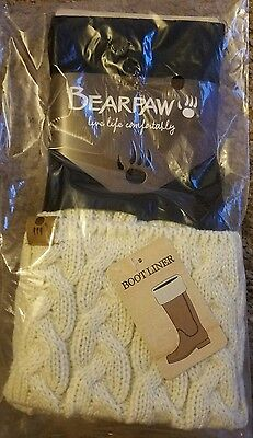☆☆☆NWT Bearpaw Women's Boot Liner Ivory Cable Knit ONE Size ☆☆☆