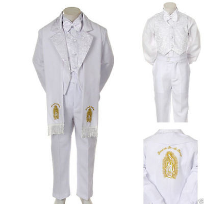 Boys Christening/ Baptism White Scarf Suite>GoldVirginMary>6PieceSet>SizesS-7