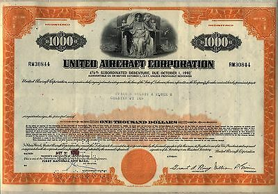 $1,000 United Aircraft Corporation Bond Stock Certificate United Technologies