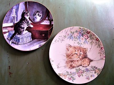 Set of 2 First Issue Collector Cat Plates