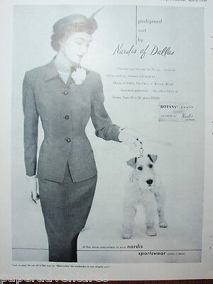 1949 Wire Haired TERRIER Dog Pedigreed Womens Suit NARDIS of DALLAS TX VTG Ad