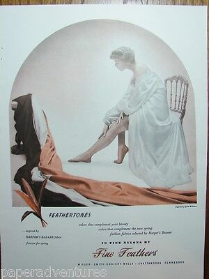 1949 FINE FEATHERS Womens Nylons Stockings Woman White Negligee VTG Hosiery Ad