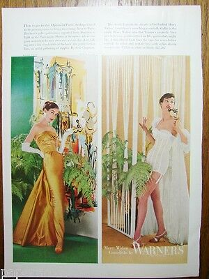 1955 WARNERS Womens Merry Widow Corselette Lingerie CEIL CHAPMAN Gown Vintage Ad