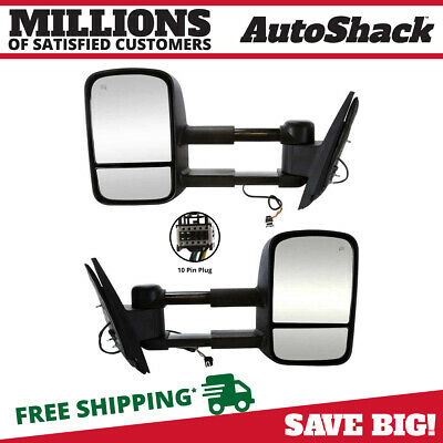 Pair Heated Power Towing Extendable Mirrors Set w/o Signal fits Silverado Sierra