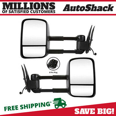 Pair of Power Heated Towing Side View Mirrors for Silverado Tahoe Sierra Yukon
