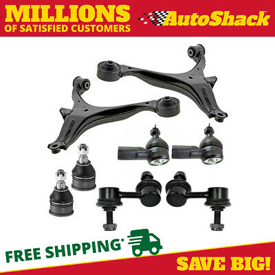 2 Control Arms 2 Lower Ball Joints 2 Outer Tie Rods 2 Sway Bar fits Honda
