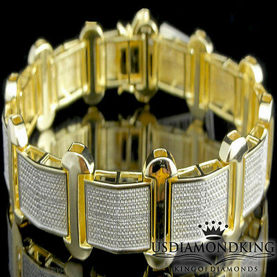 "Men Yellow Gold Over Sterling Silver .70Ctw Genuine Real Diamond Bracelet 9"" New"