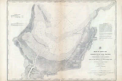 1853 Nautical Map of Green Bay and Entrance to Fox River Wisconsin