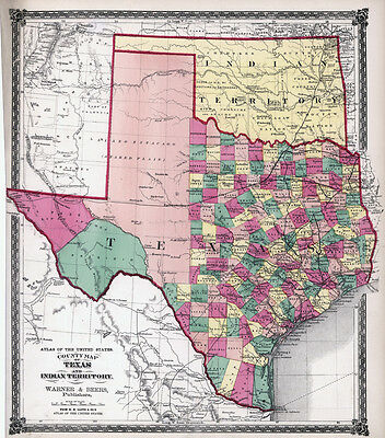 1875 Map of the State of Texas LARGE 30 x 34