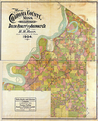 1904 Farm Line Map of Coahoma County Mississippi Clarksdale LARGE 40 x 48