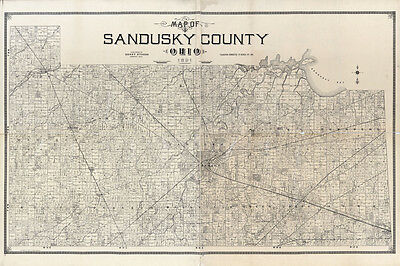 1891 Farm Line Map of Sandusky County Ohio Fremont Woodville