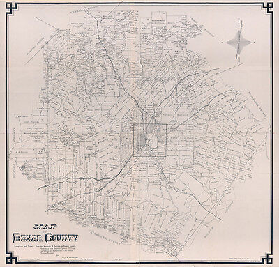 1887 Map of Bexar County Texas Large 40 x 42