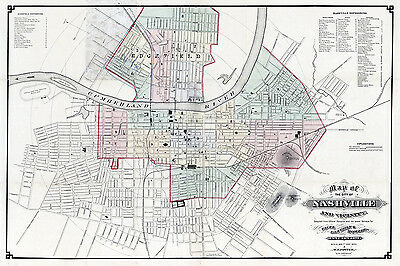 1877 Map of the City of Nashville Tennessee