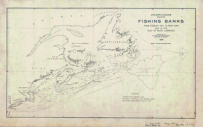 1918 Nautical Chart Map of Atlantic Ocean Fishing Banks