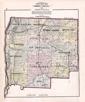 1873 Map of Greene County Illinois