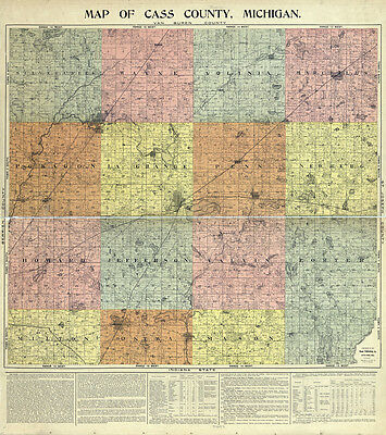 1897 Farm Line Map of Cass County Michigan Cassopolis