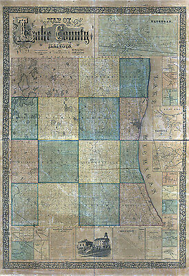 1861 Farm Line Map of Lake County Illinois Waukegan CANVAS PRINT