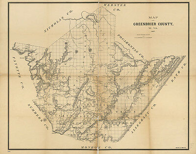 1887 Map of Greenbrier County West Virginia