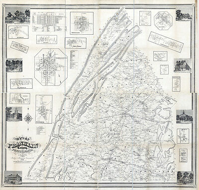 1858 Map of Franklin County Pa from actual surveys