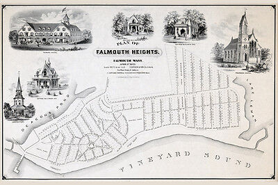 1873 Map of Falmouth Heights Falmouth Massachusetts CANVAS PRINT