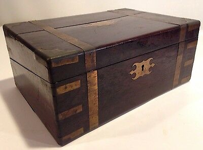 Victorian 1880's Antique Mahogany Rosewood Lap/Travel Desk Box Brass Inlay Wood