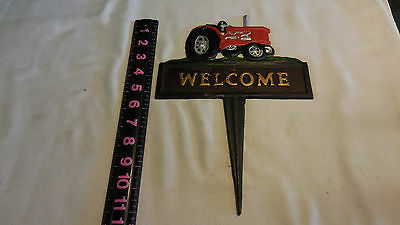 Cast Iron tractor  WELCOME Sign Garden Stake Home Decor