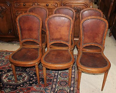 Beautiful Set Of 6 French Antique Burl Walnut Louis XVl Dining Chairs.