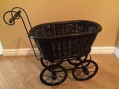 Antique Victorian Estate Wicker  Baby Doll Stroller Carriage Buggy