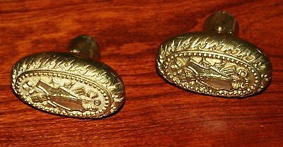 Set of 2 Beautiful Vintage Ornate Antique brass doorknobs - Yellow Brass