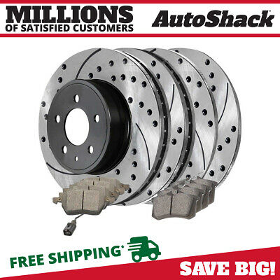 2 Complete Front & Rear Pair 4 Performance Rotors And 8 Ceramic Pads Full Set