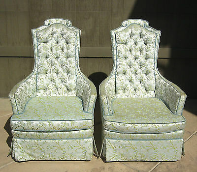 Pair Two Vintage Green Silk Brocade ARM CHAIRS Tufted Back GEORGIAN Style
