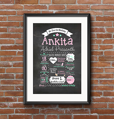 First 1st Birthday chalkboard typography keepsake PRINT. New baby, A4 A3 Gift