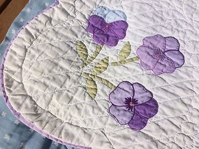 Gorgeous! Antique Handmade Pansy Flower Applique Quilt   78 x 90