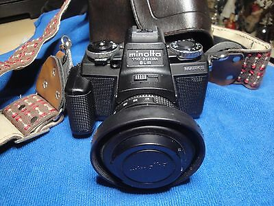 Minolta 110 Zoom SLR Mark II, with case and strap.