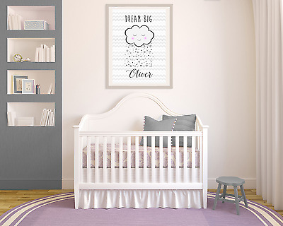 Dream big cloud stars chevron A3 print. Nursery, christening baby Grey, Decor