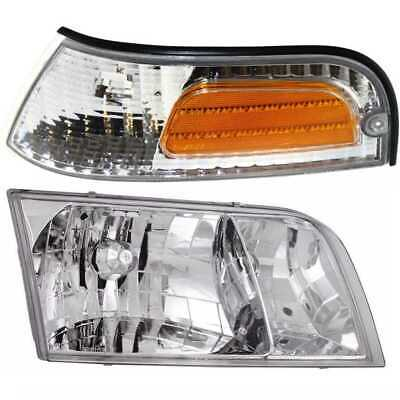 HEADLIGHT & PARKING SIDE MARKER LIGHT LEFT PAIR fits 98-09 FORD CROWN VICTORIA