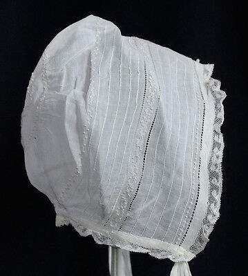 Antique Hand Embroidered, Tucked, Lace Vintage Baby Infant Doll Bonnet