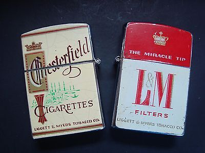 Lot of 2 Vintage CONTINENTAL Lighters.1- Chesterfield & 1- L & M Cigarettes.
