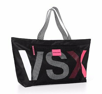 Victoria's Secret VSX Large Zip Top Tote Bag Weekend Gym Black Pink Mesh Pocket