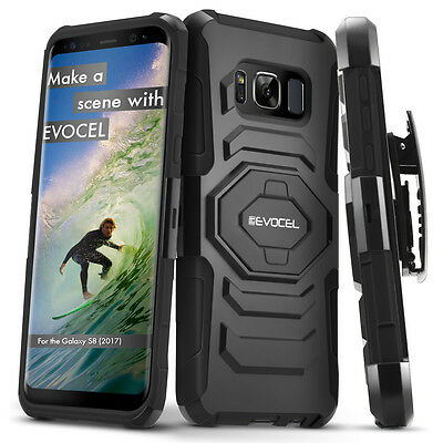 Galaxy S8 Case, Evocel Rugged Holster Dual Layer Case with Kickstand & Belt Clip
