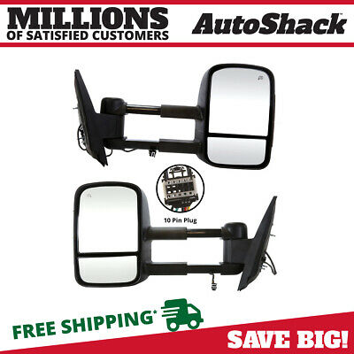 Pair Heated Power Towing Smoked Signal Extendable Side Mirror fits GMC Chevrolet