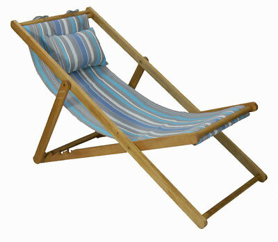 Deck Chair with Pillow Timber Folding Outdoor Furniture Random Stripe Blue Grey