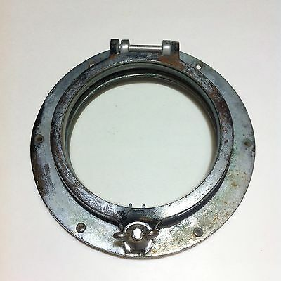 "Small Antique Vintage Bronze Ship Boat Porthole 6"" Glass Steampunk"