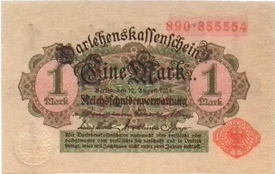 1914 German Empire WW1  1 Mark  Banknote UNCIRCULATED