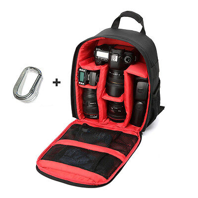 US Camera Bag Backpack Waterproof DSLR Case with Carabiner for Canon Sony Nikon