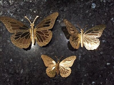 Home Interiors Set of 3 Gold Metal Butterflies to hang on the wall